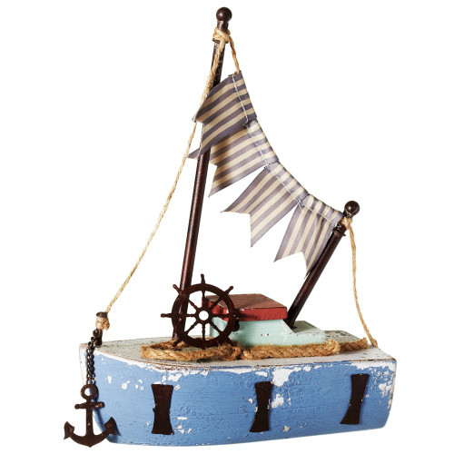 """Set of 2 Blue Nautical Themed Small Boat with Flags and Anchor Table Top Figures 13"""" - IMAGE 1"""