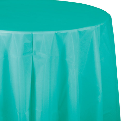 """Club Pack of 12 Teal Blue Solid Round Disposable Plastic Banquet Party Table Covers 82"""" - IMAGE 1"""