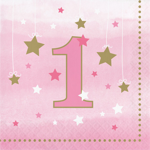 """Club Pack of 192 Pink and Gold """"1"""" Luncheon Napkins 5"""" - IMAGE 1"""