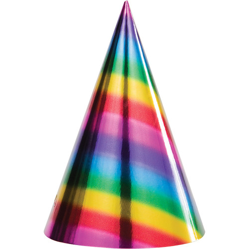 "Club Pack of 96 Multi-Colored Rainbow Foil Birthday Party Cone Hats 8"" - IMAGE 1"