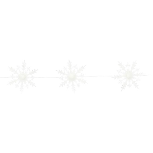 5 Lighted White Acrylic Snowflake Strands 5' - IMAGE 1