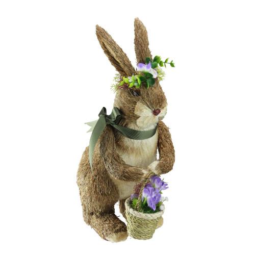 "16.5"" Standing Sisal Easter Bunny with Basket Spring Figure - IMAGE 1"