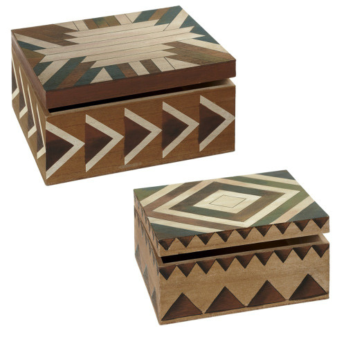 Set of 2 Brown and Green Decorative Watercolor Storage Boxes 11.25 - IMAGE 1