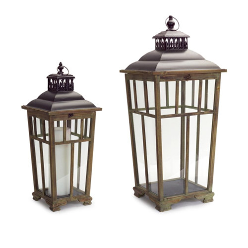 "Set of 2 Vintage Inspired Pillar Candle Lantern Holders with Handle 36"" - IMAGE 1"