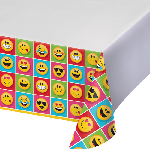 """Pack of 6 Yellow and Red Emojis Decorative Table Covers 102"""" - IMAGE 1"""
