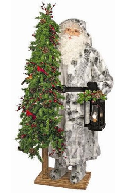 "57"" Father Christmas Winter Woods Santa with Lantern and Pre-Lit Tree - Clear LED Lights - IMAGE 1"