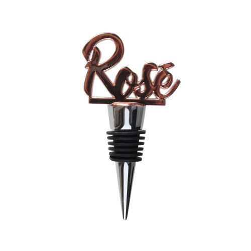 """4"""" Handcrafted Rose Gold Rosé Stainless Steel Wine Bottle Stopper - IMAGE 1"""