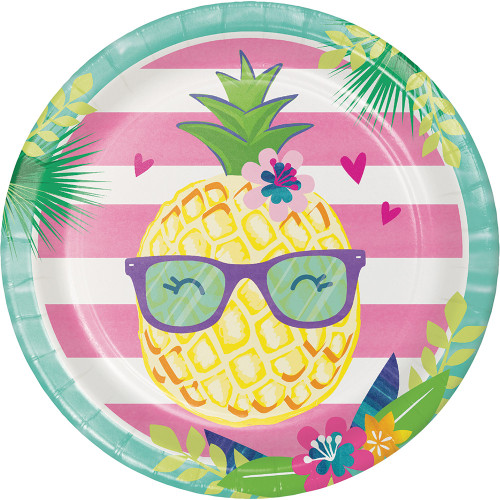 """Club Pack of 96 Pink and Green Floral Pineapple Dinner Party Plates 9"""" - IMAGE 1"""