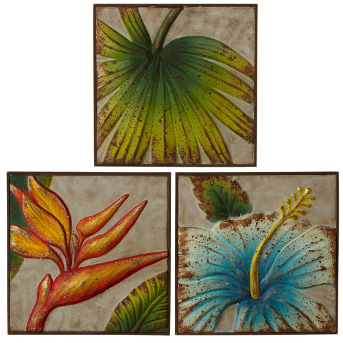 """Set of 3 Green and Blue Decorative Embossed Tropical Wall Decor 16.5"""" - IMAGE 1"""