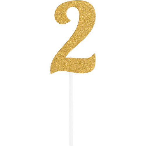 """Club Pack of 12 Glittered Gold Party '2' Cake Dessert Toppers 7"""" - IMAGE 1"""