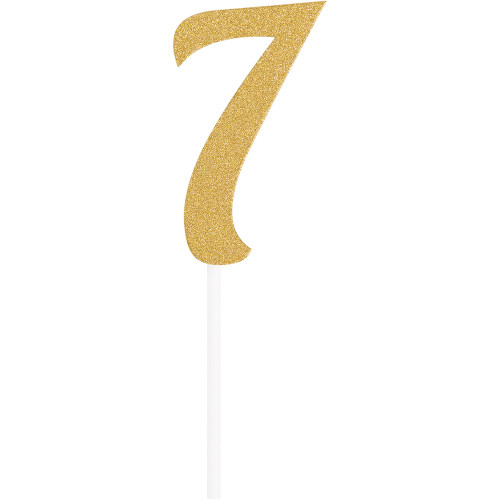 """Club Pack of 12 Gold Party '7' Cake Dessert Toppers 7"""" - IMAGE 1"""