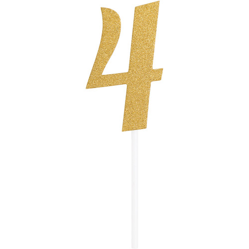 """Club Pack of 12 Gold Party '4' Cake Dessert Toppers 7"""" - IMAGE 1"""