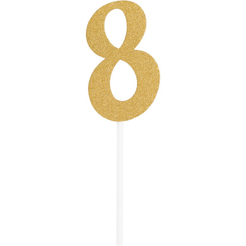 """Club Pack of 12 Gold Party '8' Cake Dessert Toppers 7"""" - IMAGE 1"""