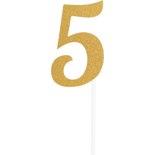 """Club Pack of 12 Gold Party '5' Cake Dessert Toppers 7"""" - IMAGE 1"""