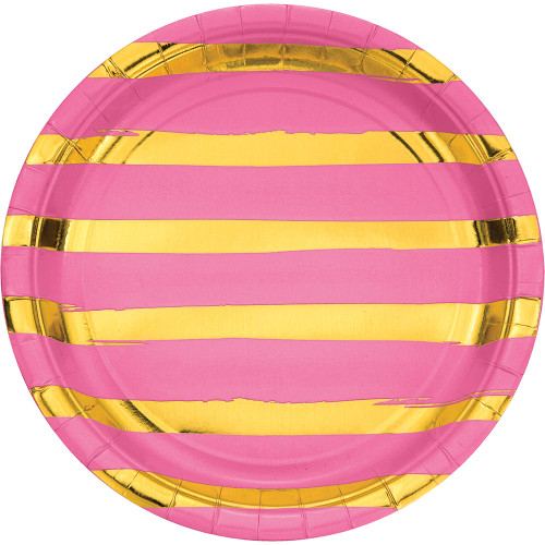 """Club Pack of 96 Candy Pink and Shining Gold Foil Dinner Party Plates 8.75"""" - IMAGE 1"""