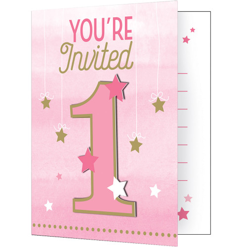 "Club Pack of 48 Pink and Gold 1st Birthday 'You're Invited' Party Invitations 7"" - IMAGE 1"