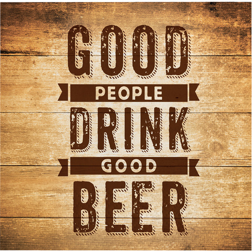 "Club Pack of 192 Brown and Gold ""Good People Drink Good Beer"" Beverage Napkin 5"" - IMAGE 1"