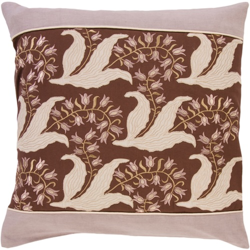 "18"" Brown and Ivory Floral Pattern Indoor Square Throw Pillow - Down Filler - Poly Filled - IMAGE 1"