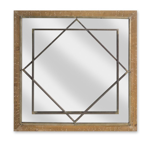 """25"""" Brown and Clear Contemporary Square Decorative Wall Mirror - IMAGE 1"""