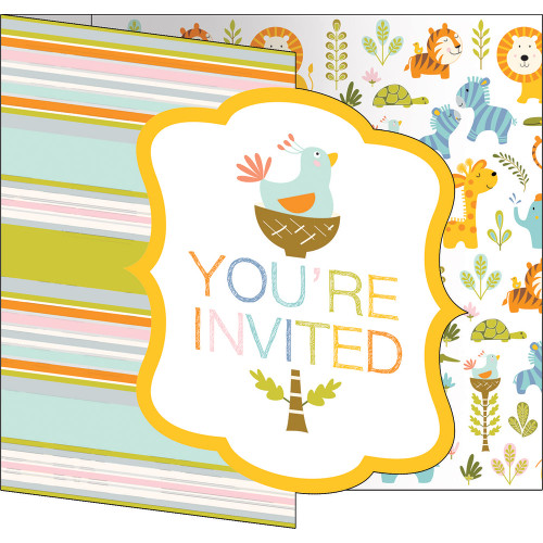 """Club Pack of 48 Yellow and Green 'You're Invited' Party Invitations 7"""" - IMAGE 1"""