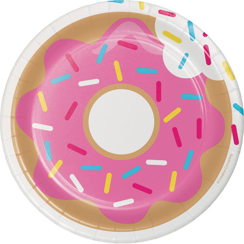 """Club Pack of 96 Pink and Gray Assorted Donut Time Luncheon Plate 6.8"""" - IMAGE 1"""