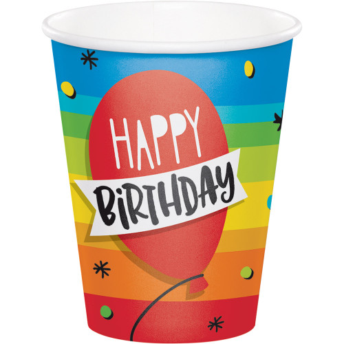 "Club Pack of 96 Red and Blue ""Happy Birthday"" Balloon Party Cups - IMAGE 1"