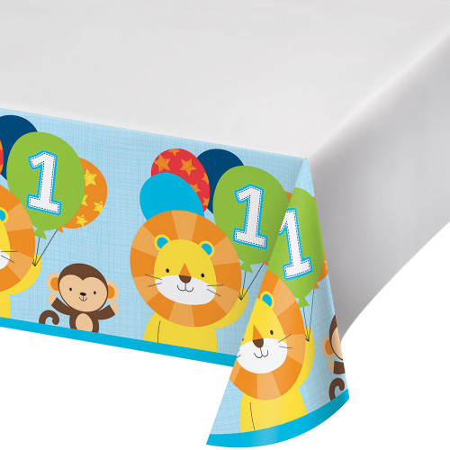 """Pack of 6 Sky Blue and Orange """"One is Fun"""" Table Covers 16.25"""" - IMAGE 1"""