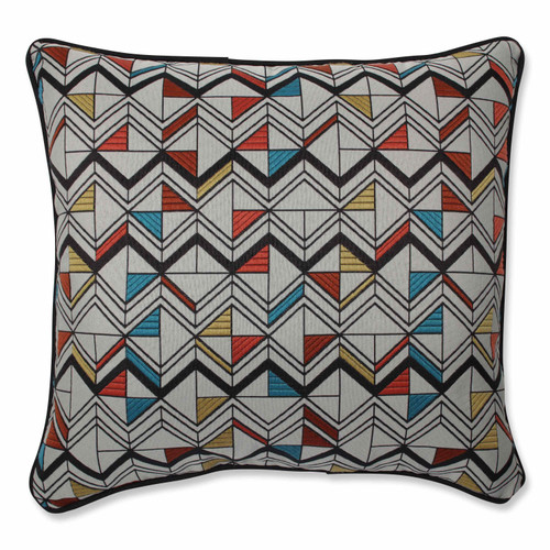 """16.5"""" Black and Red Geometric Motif Throw Pillow - IMAGE 1"""
