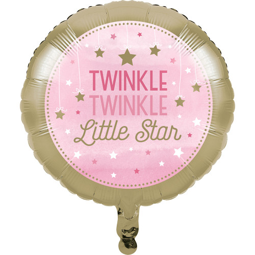 """Pack of 10 Pink and Tan """"TWINKLE TWINKLE LITTLE STAR"""" Metallic Balloon 8"""" - IMAGE 1"""