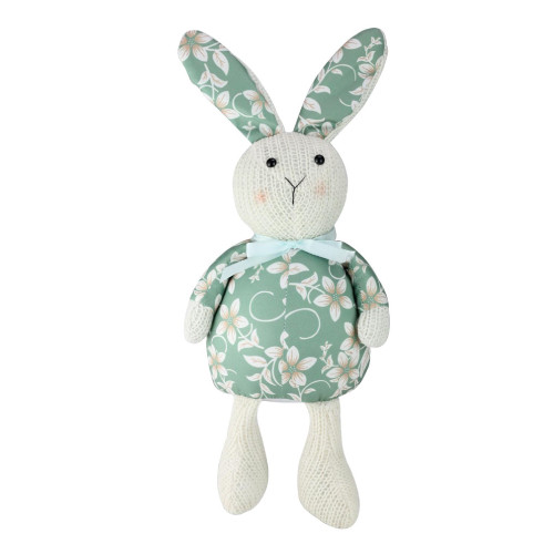 """17"""" Green and White Floral Easter Bunny Rabbit Spring Figure - IMAGE 1"""