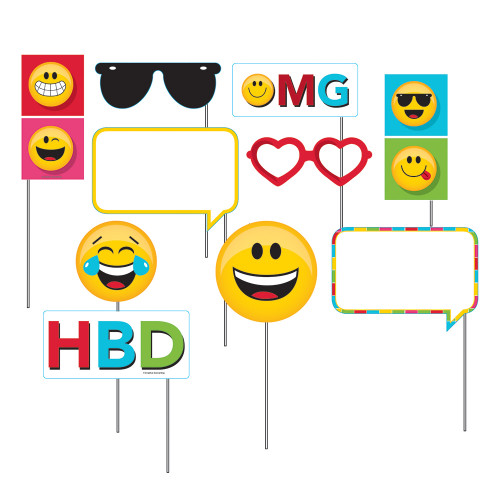 """Club Pack of 60 Yellow and Red Decorative Show Your Emoji Photo Props 15.5"""" - IMAGE 1"""