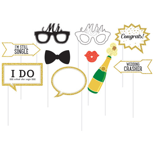 """Club Pack of 60 Black and Gold Wedding Theme Photo Props 15"""" - IMAGE 1"""