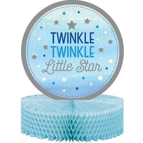 """Pack of 6 Gray and Blue """"Twinkle Twinkle Little Star"""" Tissue Centerpieces 13.5"""" - IMAGE 1"""
