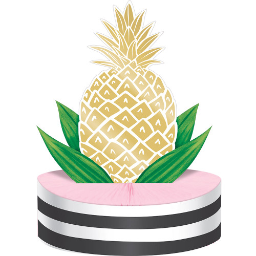 """Pack of 6 Tropical Pineapple Foil Table Centerpieces 13"""" - IMAGE 1"""