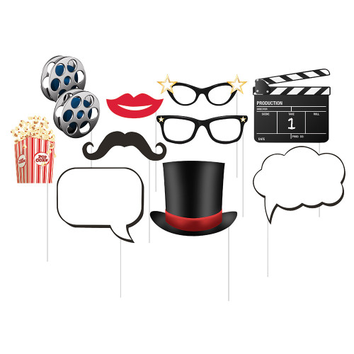 """Club Pack of 60 Black and Red Decorative """"Hollywood Lights"""" Photo Props 14"""" - IMAGE 1"""