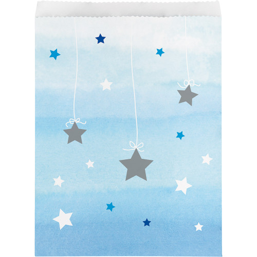 """Club Pack of 120 Blue and White Star Decorative Party Treat Bags 11"""" - IMAGE 1"""