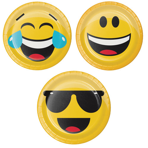 """Club Pack of 96 Yellow and Black Assorted Show Your Emojis Themed Luncheon Plates 7"""" - IMAGE 1"""