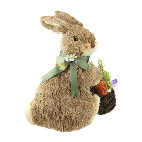 """11.25"""" Sitting Bunny Wearing Green Scarf Facing Right Figure - IMAGE 1"""