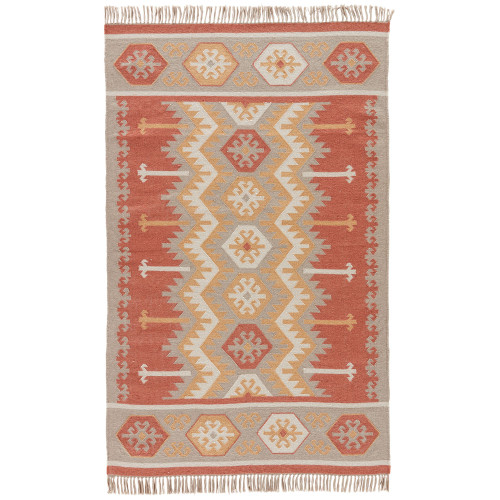 3.5' x 5.5' Taupe Gray and Coral Red Tribal Pattern Indoor/Outdoor Area Throw Rug - IMAGE 1