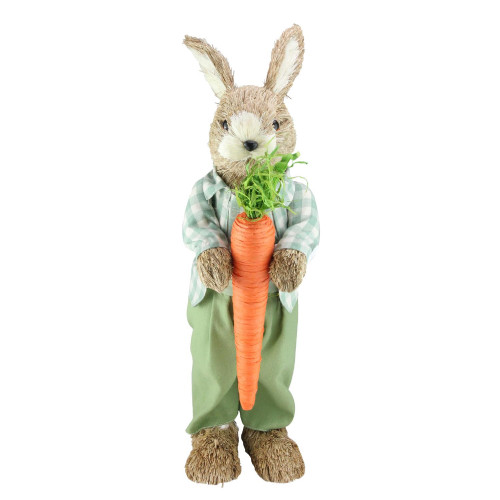 """19"""" Spring Sisal Standing Bunny Rabbit Figure with Carrot - IMAGE 1"""