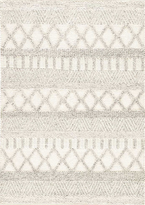 8' x 11' Contemporary Hand Crafted Papyrus Tribal Pattern Wool and Cotton Scandinavia Dula Area Rug - IMAGE 1