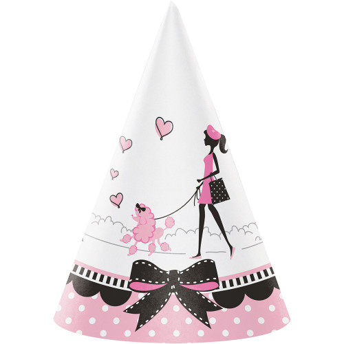 """Club Pack of 48 Pink and White Poodle Dog Printed Decorative Child Paper Hats 6.25"""" - IMAGE 1"""