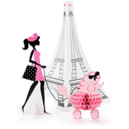 """Set of 6 Black and Pink Paris Themed Centerpiece Party Decoration - 13.5"""" - IMAGE 1"""
