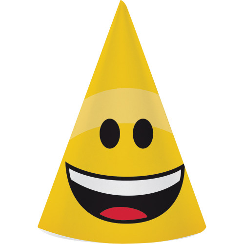 """Club Pack of 48 Yellow Emojion Printed Child Party Cone Hats 7"""" - IMAGE 1"""