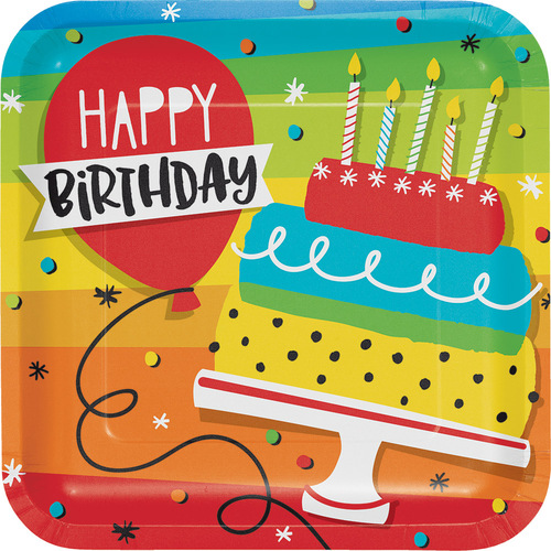 """Club Pack of 96 Yellow and Red Summertime """"Happy Birthday"""" Cake Dinner Party Plates 9"""" - IMAGE 1"""