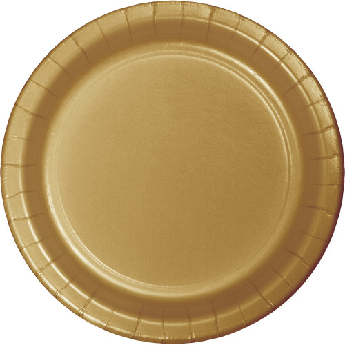 """Club Pack of 96 Glittering Gold Disposable Round Luncheon Plates 7"""" - IMAGE 1"""