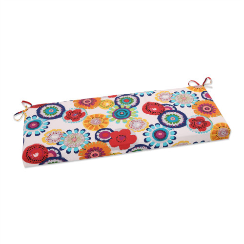 """45"""" White and Blue Floral Outdoor Rectangular Bench Cushion - IMAGE 1"""