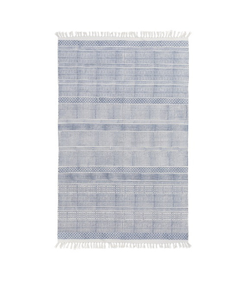 2' x 3' Contemporary Blue and Cadet Gray Hand Woven Fringe Detail Rectangular Area Throw Rug - IMAGE 1