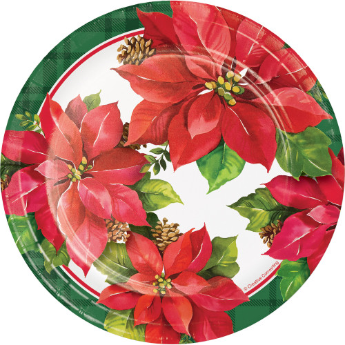 "Club Pack of 96 Green and Red Christmas Poinsettia Printed Luncheon Plates 7"" - IMAGE 1"