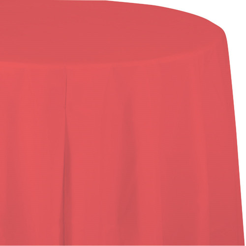 """Club Pack of 12 Strawberry Pink Decorative Paper-Lined Octy Round Tablecloth 82"""" - IMAGE 1"""